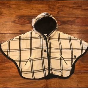 Big plaid hooded cape jacket 4T